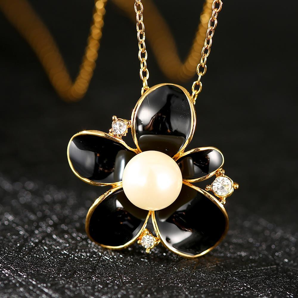 Vienna Jewelry Gold Plated Onyx Pearl Floral Emblem Necklace