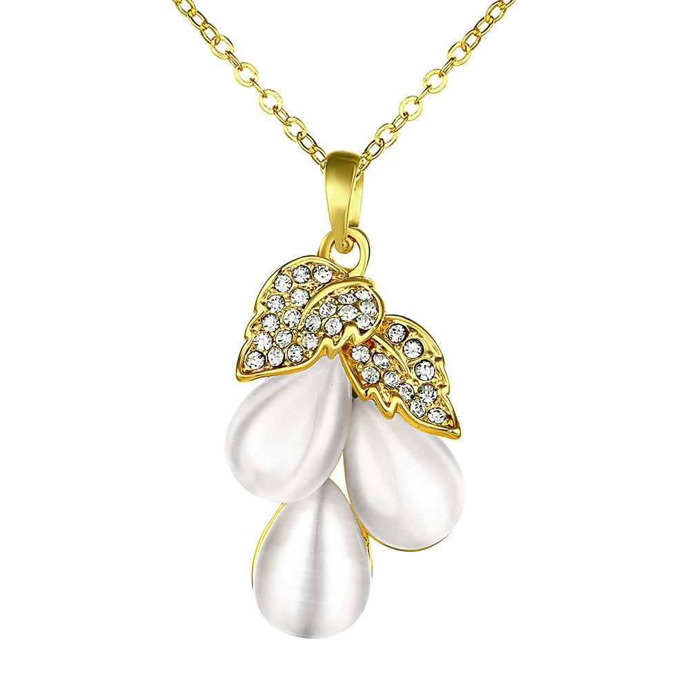 Vienna Jewelry Gold Plated Ivory Drop Orchid Necklace
