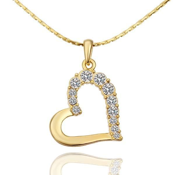 Vienna Jewelry Gold Plated Classic Wedding Heart Shaped Crystal Necklace