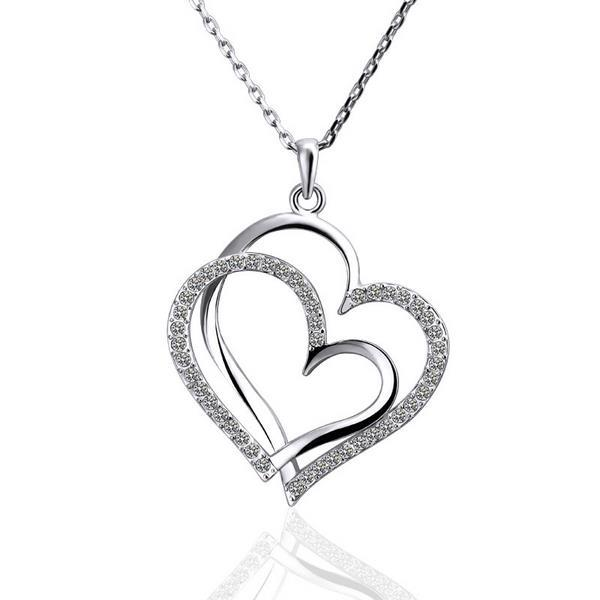 Vienna Jewelry White Gold Plated Double Hearts Emblem Necklace