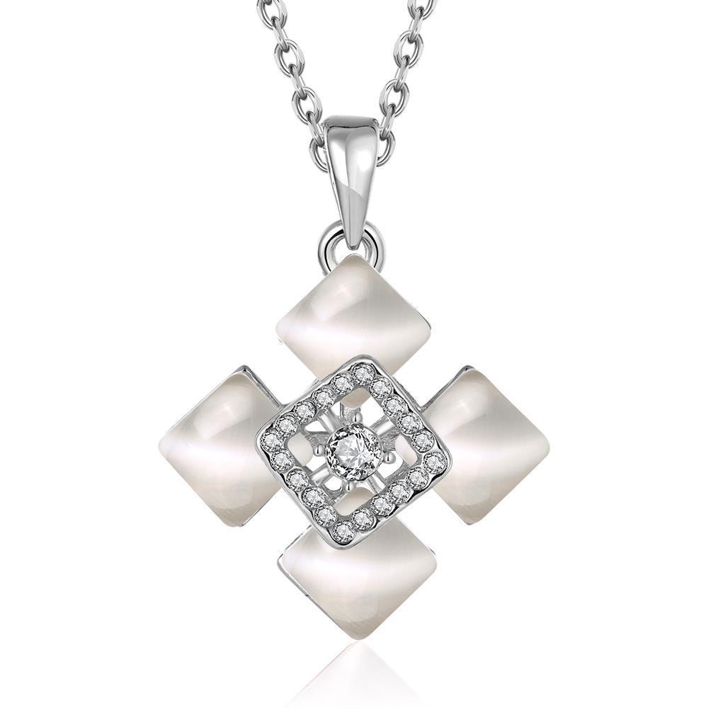 Vienna Jewelry White Gold Plated Quad Diamond Ivory Necklace