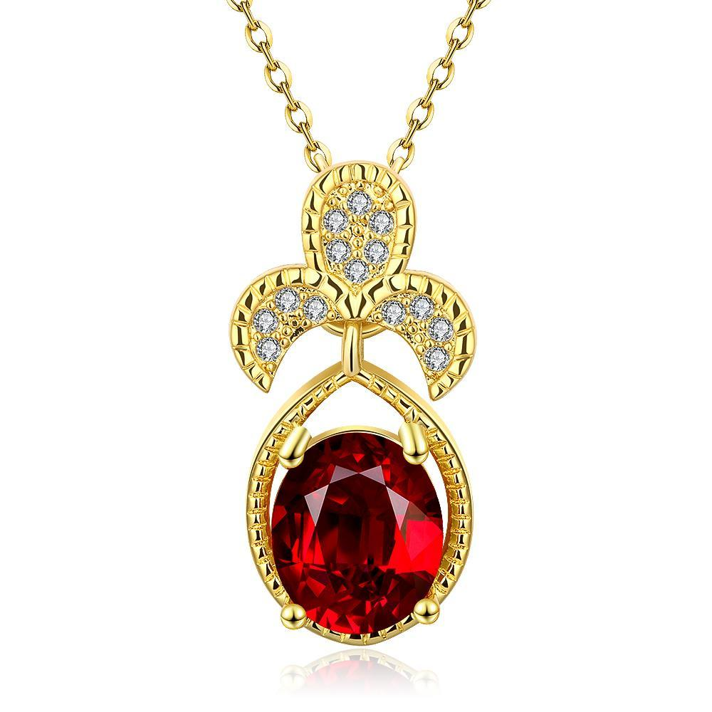 Vienna Jewelry Gold Plated Trio Petals Ruby Pendant Necklace