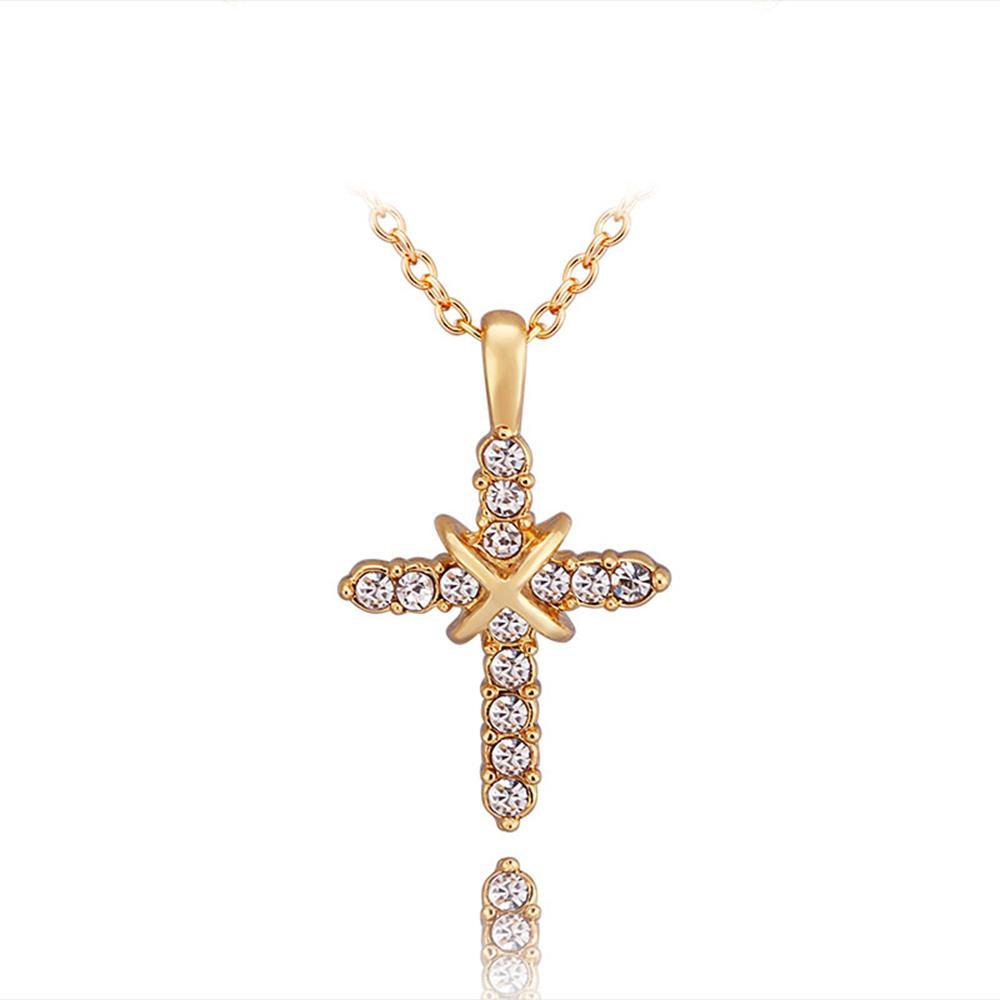 Vienna Jewelry Petite Gold Plated Cross Necklace