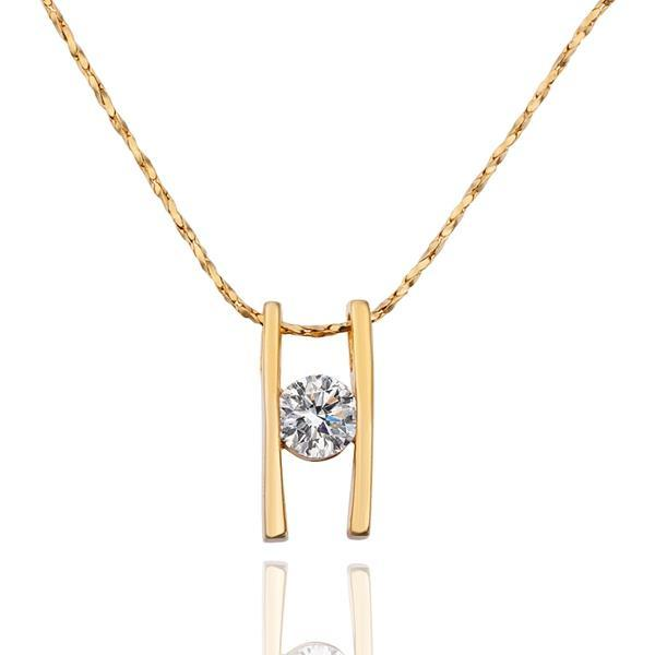Vienna Jewelry Gold Plated Double Horizontal Line Necklace