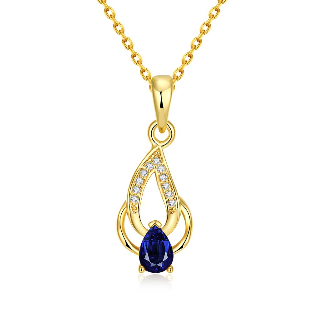 Vienna Jewelry Gold Plated Saphire Double * Pendant Necklace