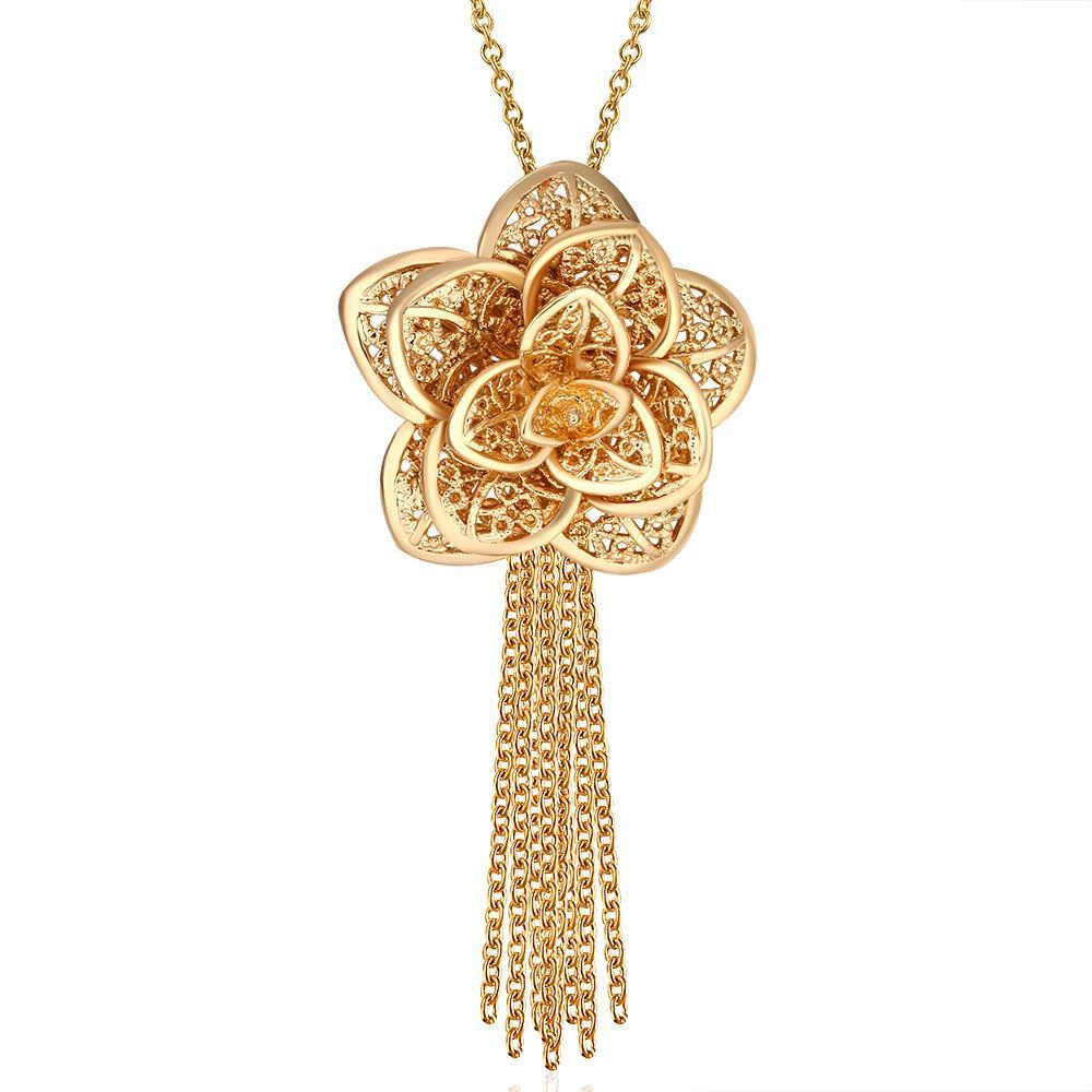 Vienna Jewelry Gold Plated Floral Petal Tassle Necklace