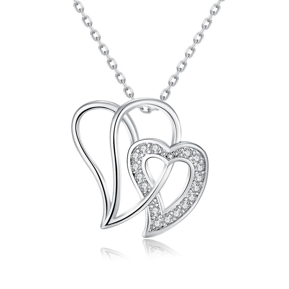 Vienna Jewelry White Gold Plated Large Double Love Necklace