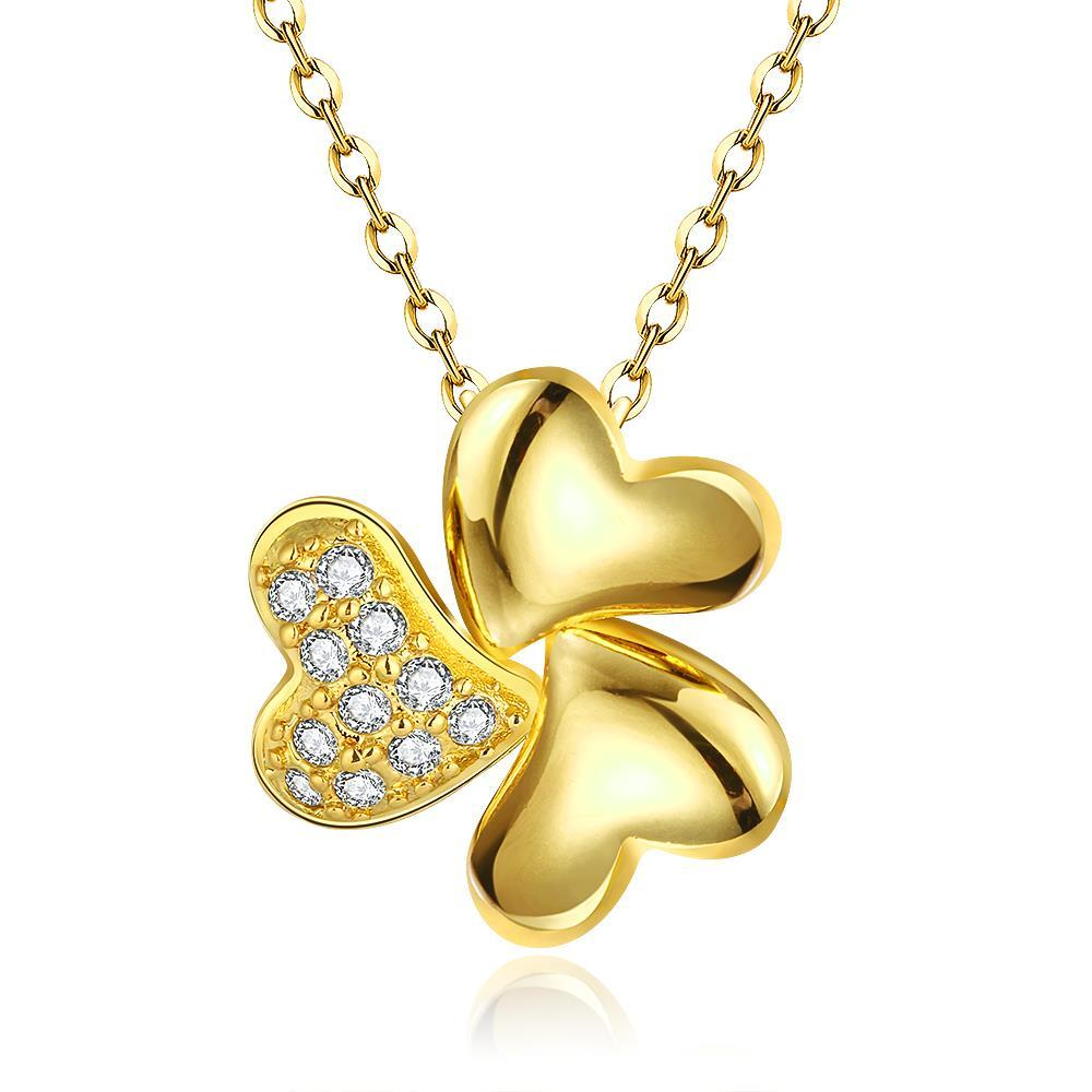 Vienna Jewelry Gold Plated Petite Trio-Clover Necklace