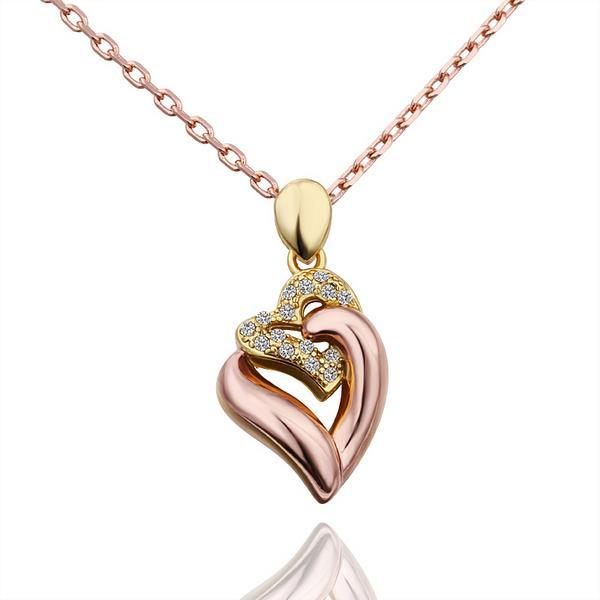Vienna Jewelry Gold Plated Double Connected Heart Emblem Necklace