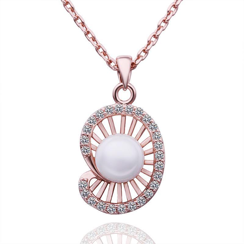Vienna Jewelry Rose Gold Plated Seashell Pearl Necklace
