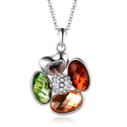 Vienna Jewelry White Gold Plated Rainbow Jewels Clover Necklace - Thumbnail 0