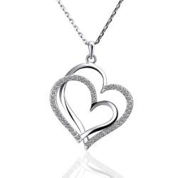 Vienna Jewelry White Gold Plated Double Hearts Emblem Necklace - Thumbnail 0