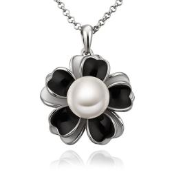 Vienna Jewelry White Gold Plated Onyx Floral Pearl Emblem Necklace - Thumbnail 0
