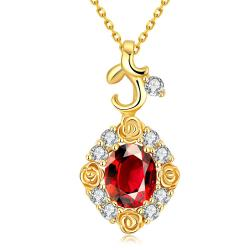 Vienna Jewelry Gold Plated Snowflake Ruby Necklace - Thumbnail 0
