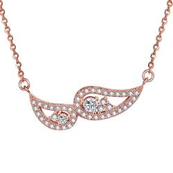 Vienna Jewelry Rose Gold Plated Double Emblem Necklace - Thumbnail 0