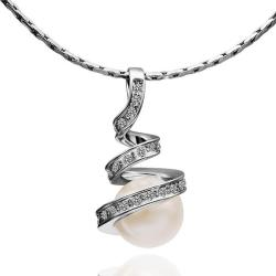Vienna Jewelry White Gold Plated Spiral Pearl Design Necklace - Thumbnail 0