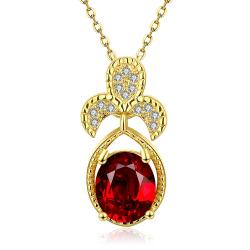 Vienna Jewelry Gold Plated Trio Petals Ruby Pendant Necklace - Thumbnail 0
