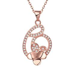 Vienna Jewelry Rose Gold Plated Interlined Heart Necklace - Thumbnail 0