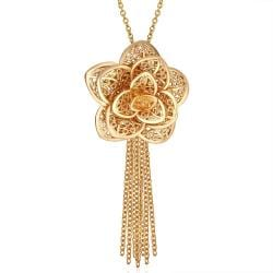 Vienna Jewelry Gold Plated Floral Petal Tassle Necklace - Thumbnail 0