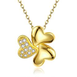 Vienna Jewelry Gold Plated Petite Trio-Clover Necklace - Thumbnail 0