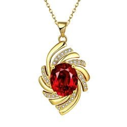 Vienna Jewelry Gold Plated Ruby Gem Spiral Necklace - Thumbnail 0