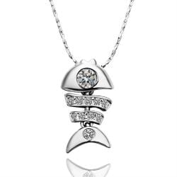 Vienna Jewelry White Gold Plated Fish-Bone Jewel Necklace - Thumbnail 0