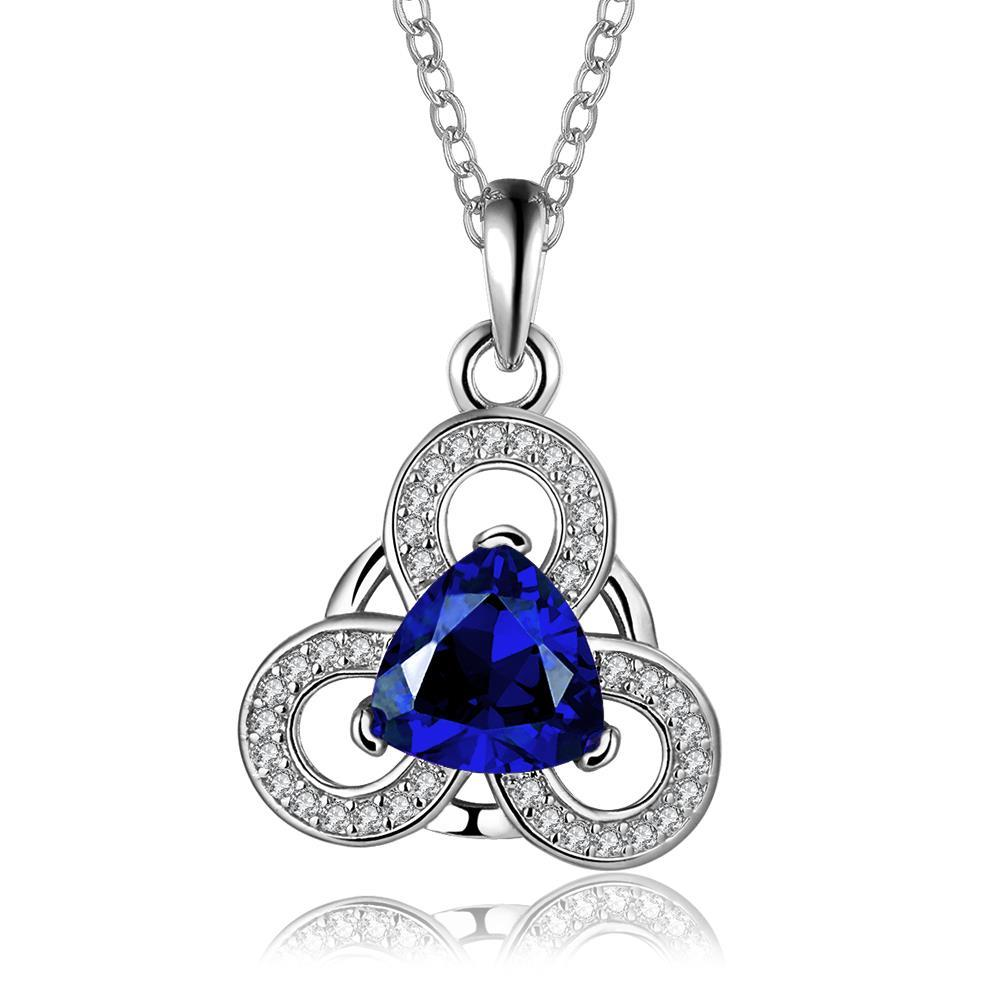 Vienna Jewelry White Gold Plated Circular Clover Sapphire Pendant Necklace