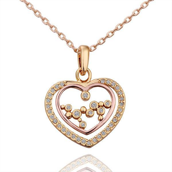 Vienna Jewelry Gold Plated Heart Shaped Jewels Insert Necklace