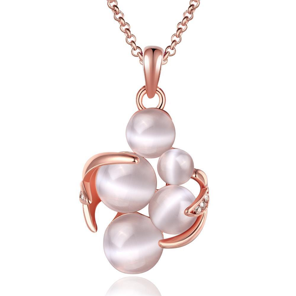 Vienna Jewelry Rose Gold Plated Quad-Ivory Necklace