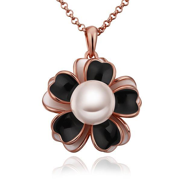 Vienna Jewelry Rose Gold Plated Onyx Floral Pearl Emblem Necklace