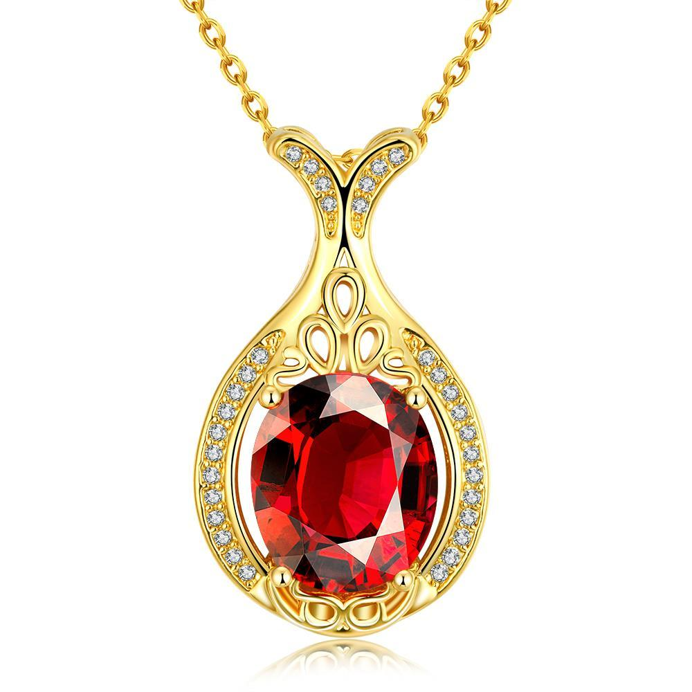 Vienna Jewelry Gold Plated Milan Inspired Ruby Gem Necklace