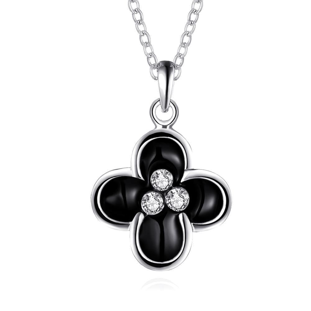 Vienna Jewelry White Gold Plated Quad Onyx Clover Necklace