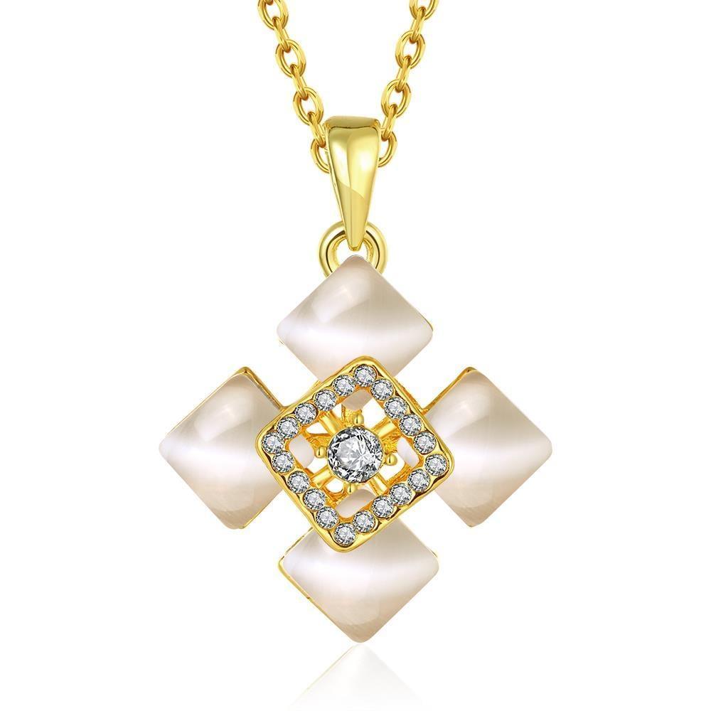 Vienna Jewelry Gold Plated Quad Diamond Ivory Necklace