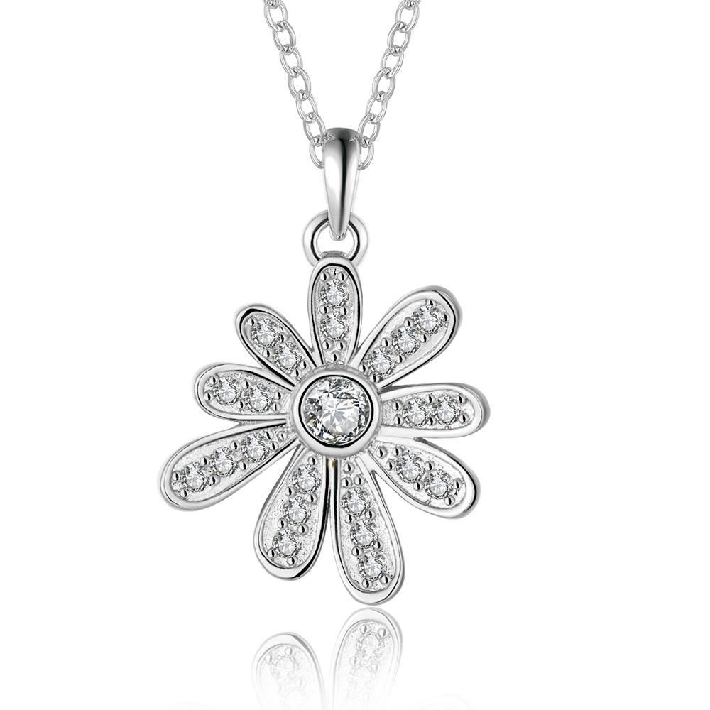 Vienna Jewelry White Gold Plated Spiral Snowflake Drop Necklace