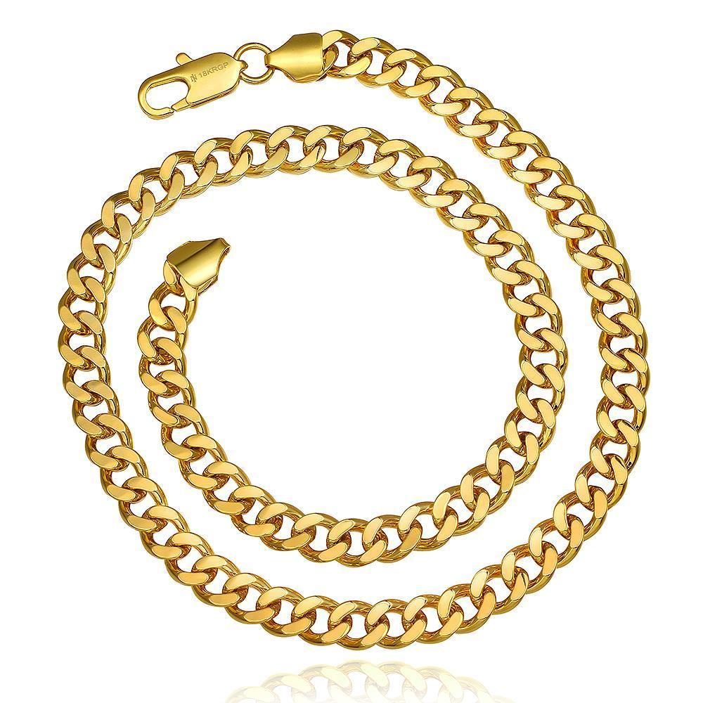 Vienna Jewelry Gold Plated Hollow Interlocking Chain Necklace