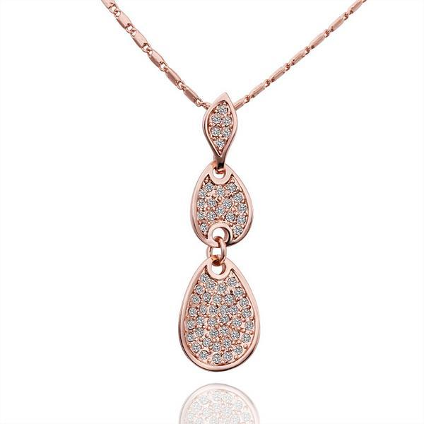 Vienna Jewelry Rose Gold Plated Trio-Dangling Emblem Necklace