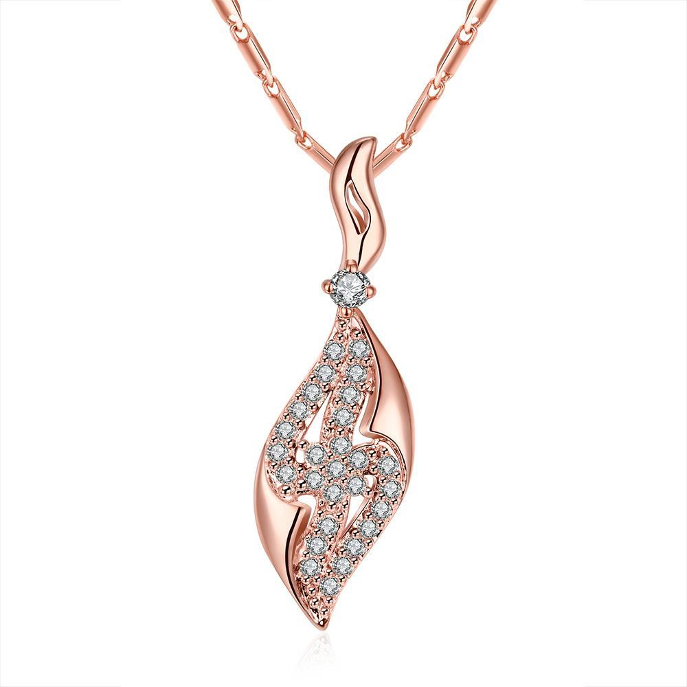 Vienna Jewelry Rose Gold Plated Jewels Zig-Zag Necklace