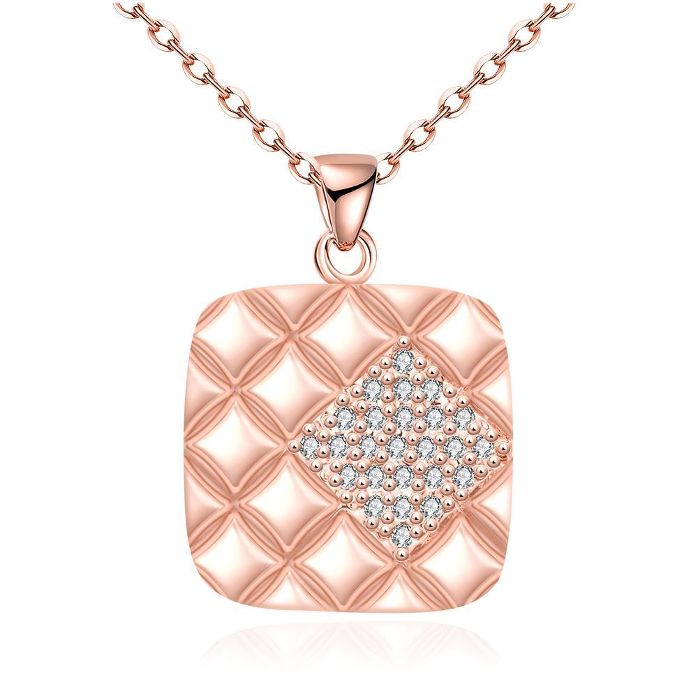 Vienna Jewelry Rose Gold Plated Square * Pendant Necklace