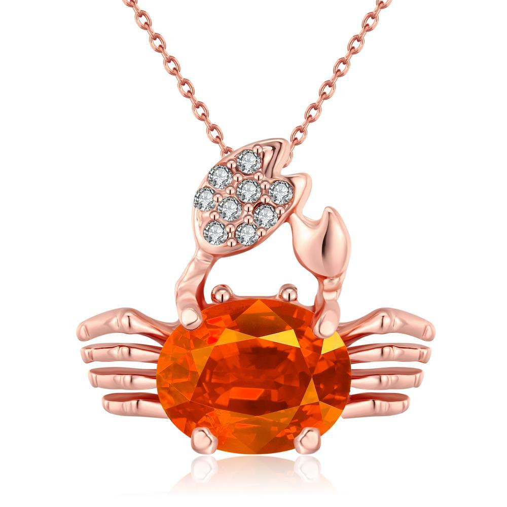 Vienna Jewelry 18K Rose Gold Plated Citrine CrabNecklace
