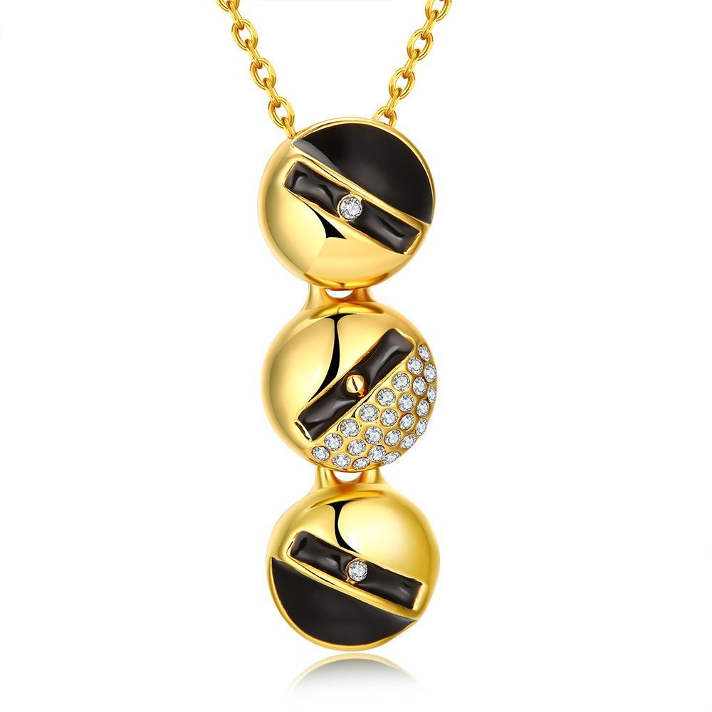 Vienna Jewelry Gold Plated Trio-Onyx Lining Dangling Necklace