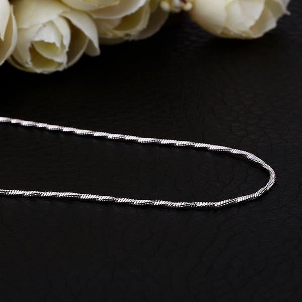 Vienna Jewelry White Gold Plated Mini Intertwined Chain Necklace