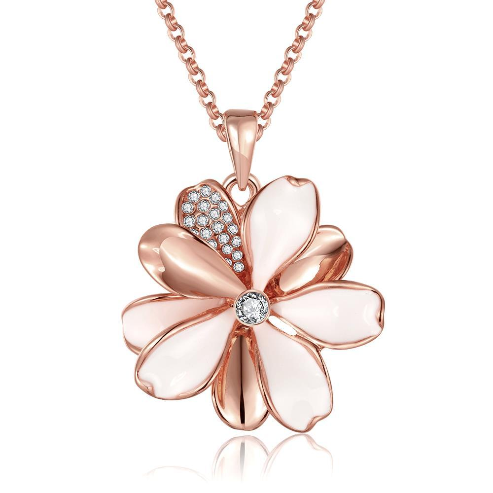 Vienna Jewelry Rose Gold Plated Ivory Clover Petals Necklace