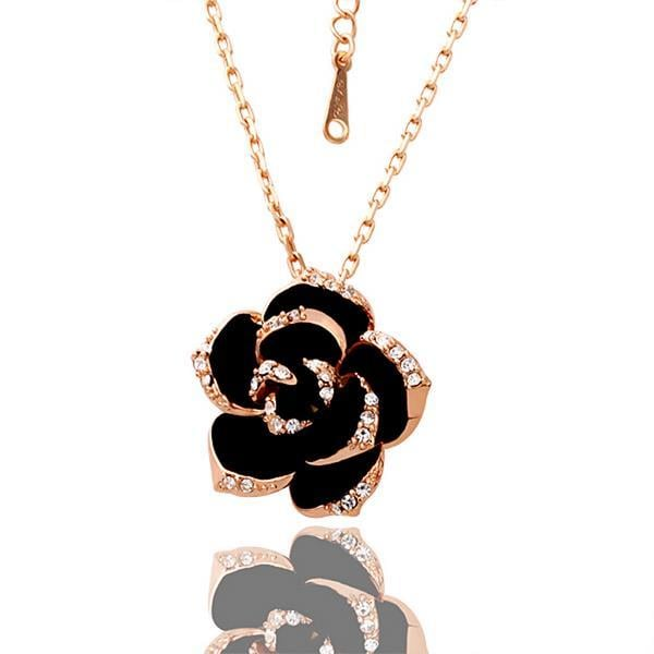 Vienna Jewelry Rose Gold Plated Large Onyx Rose Petal Necklace