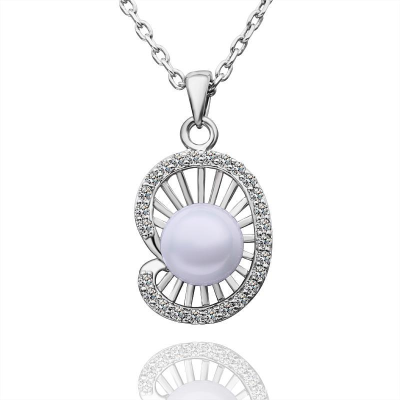 Vienna Jewelry White Gold Plated Seashell Pearl Necklace