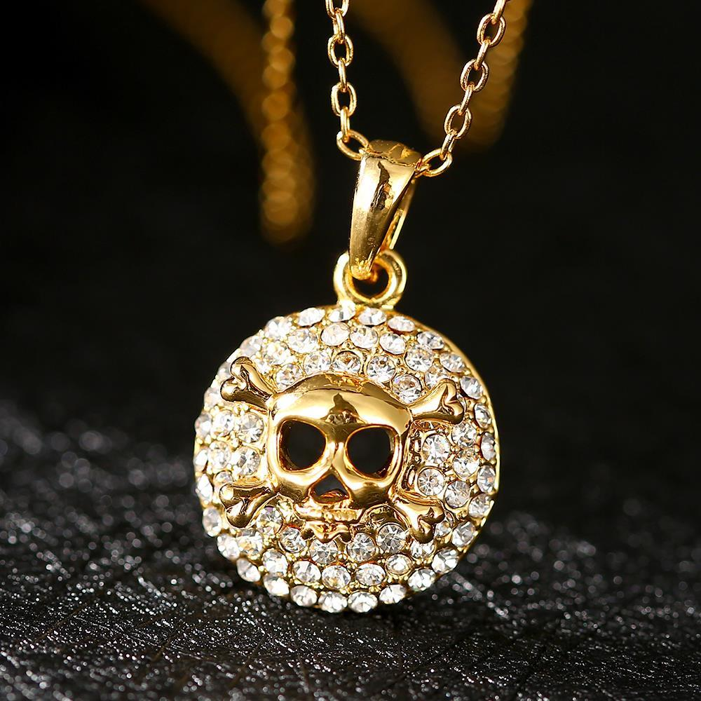 Vienna Jewelry Gold Skull & Bones Emblem Necklace