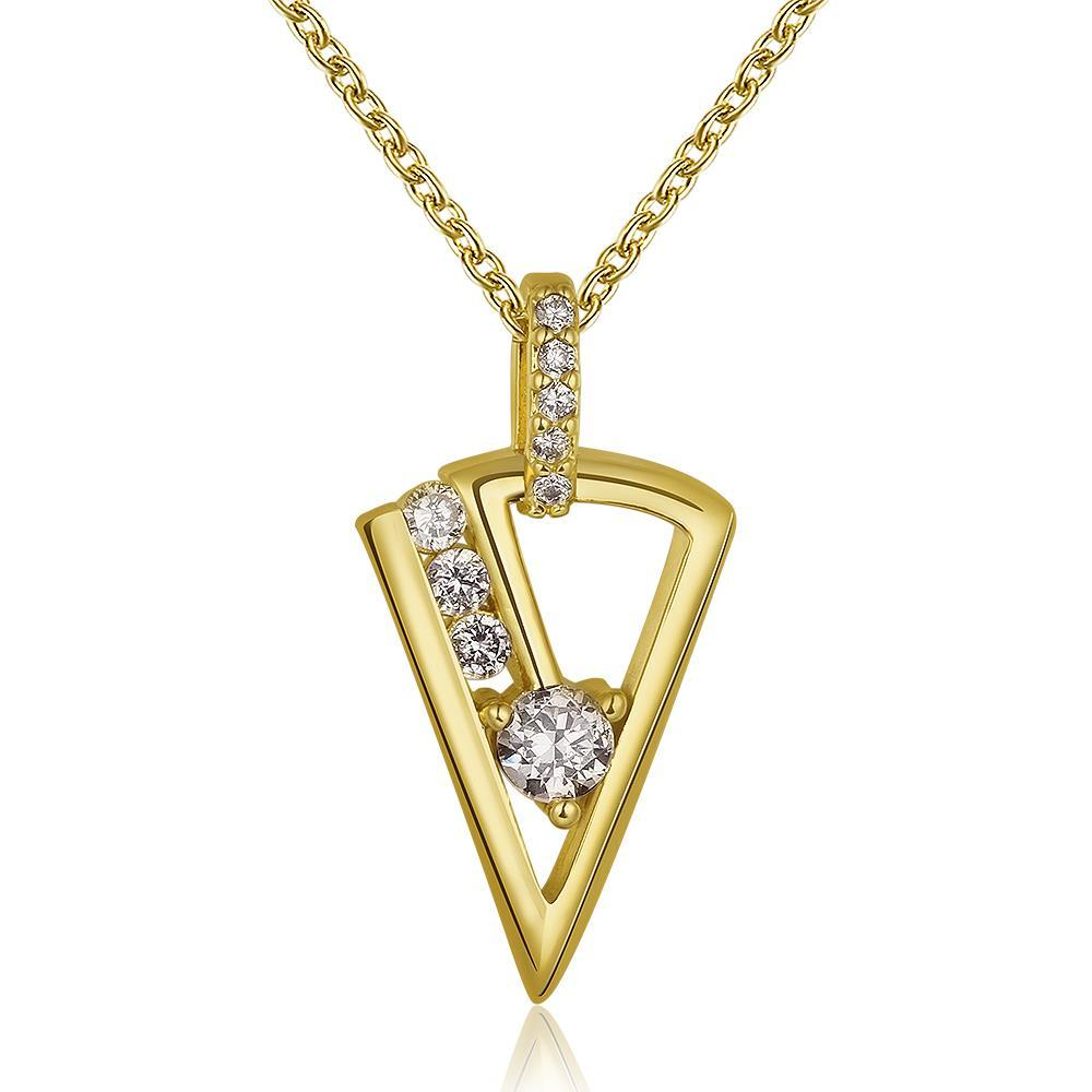 Vienna Jewelry Gold Plated Triangular Drop Crystal Necklace