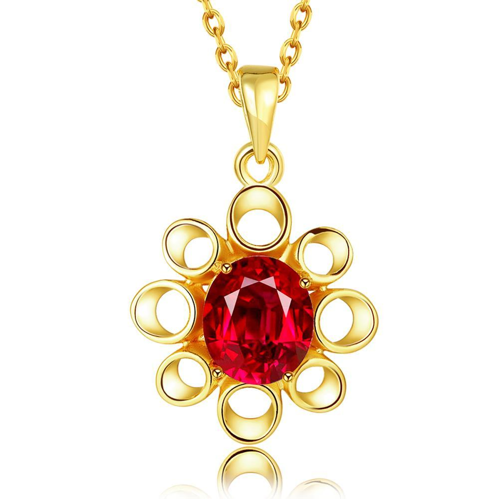 Vienna Jewelry Gold Plated Hollow Ruby Snowflake Necklace