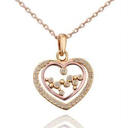Vienna Jewelry Gold Plated Heart Shaped Jewels Insert Necklace - Thumbnail 0