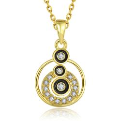 Vienna Jewelry Gold Plated Trio-Circular Drop Necklace - Thumbnail 0