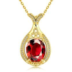 Vienna Jewelry Gold Plated Milan Inspired Ruby Gem Necklace - Thumbnail 0